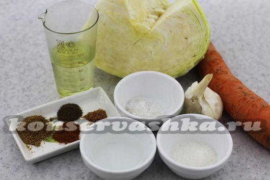 Ингредиенты для приготовления капусты по-корейски