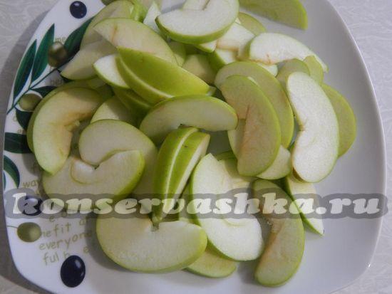 Яблоко нарезать ломтиками