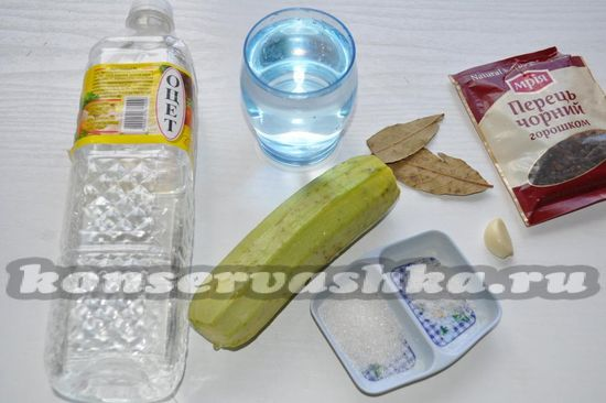 Ингредиенты для приготовления маринованных консервированных кабачков