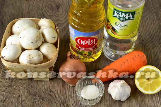 Ингредиенты для приготовления маринованных грибов по-корейски
