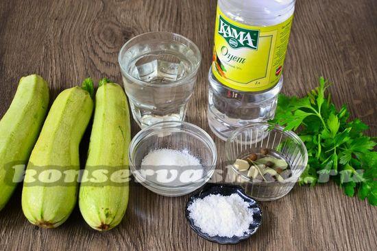 Ингредиенты для приготовления маринованных кабачков