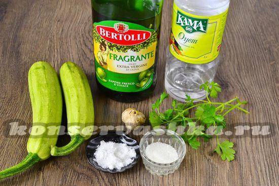 Ингредиенты для приготовления быстрых маринованных кабачков
