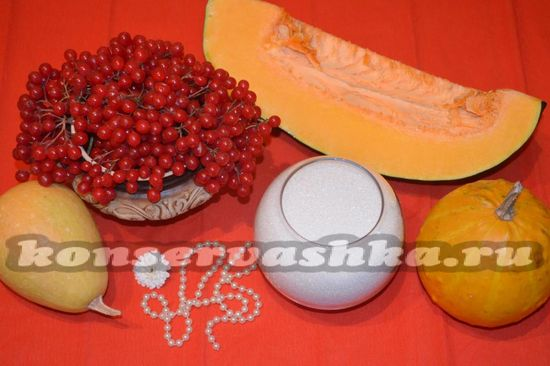 Ингредиенты для приготовления повидла из тыквы и калины