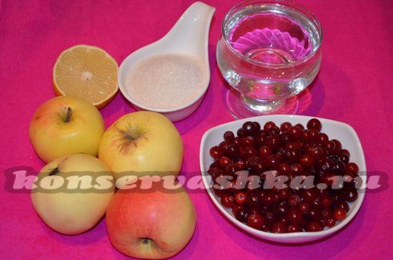 Ингредиенты для приготовления варенья из яблок и клюквы
