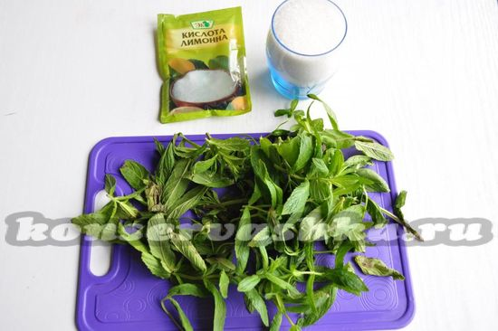 Ингредиенты для приготовления варенья из мяты