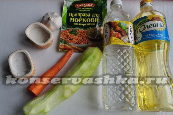 ингредиенты для приготовления кабачков по-корейски