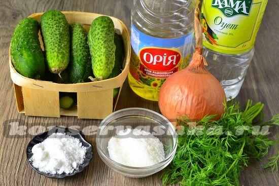 Ингредиенты для приготовления салата из огурцов на зиму