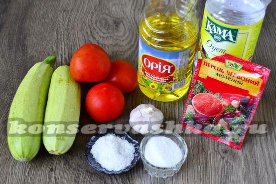 Ингредиенты для приготовления кабачков в томатном соке
