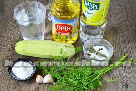 Ингредиенты для приготовления маринованных закусочных кабачков