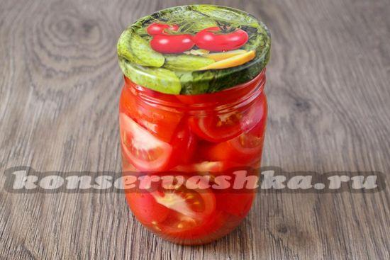 Заливаем помидоры уже остывшей водой