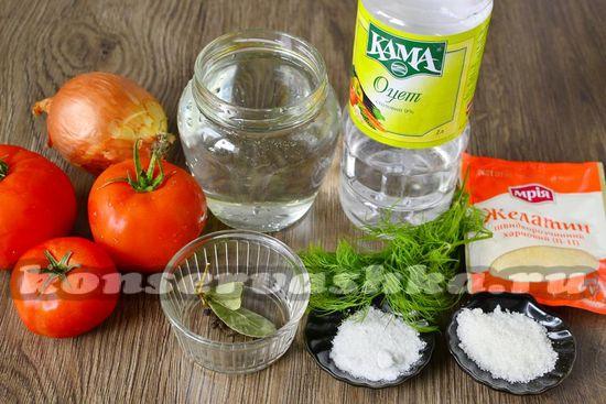 Ингредиенты для приготовления консервированных помидор с желатином