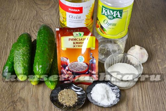 Ингредиенты для приготовления маринованных огурцов