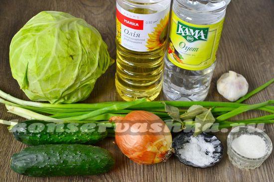 Ингредиенты для приготовления салата с молодой капустой на зиму