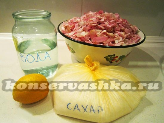 Ингредиенты для приготовления варенья из лепестков розы