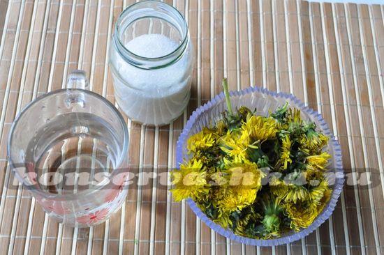 Ингредиенты для приготовления варенья из одуванчиков