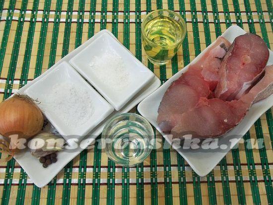 Ингредиенты для приготовления маринованной рыбы