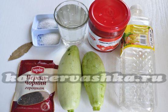 """ингредиенты для приготовления консервированных кабачков """"Закусочные"""""""