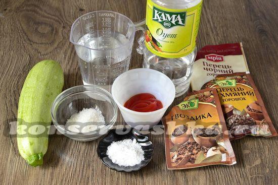 Продукты для маринованных кабачков в кетчупе чили