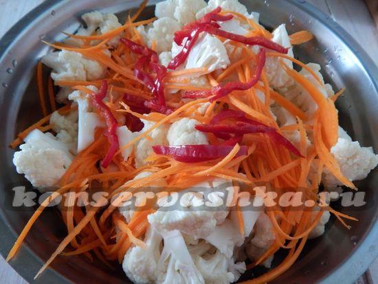 добавить тертую морковь и нарезанный соломкой сладкий перец