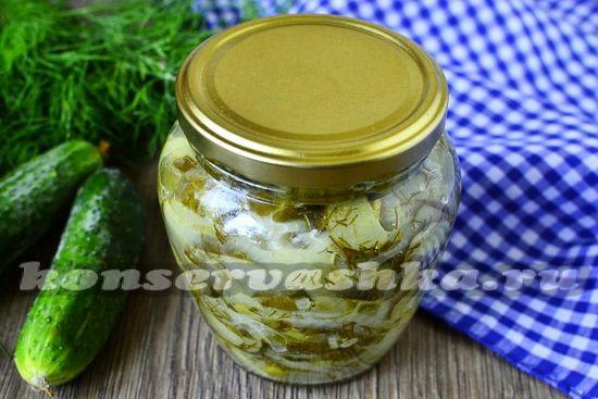 рецепт салата из огурцов на зиму без стерелизации