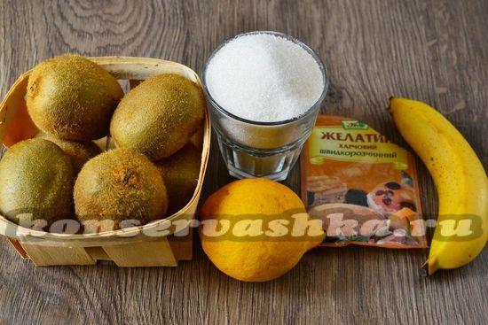 Ингредиенты для приготовления варенья из киви