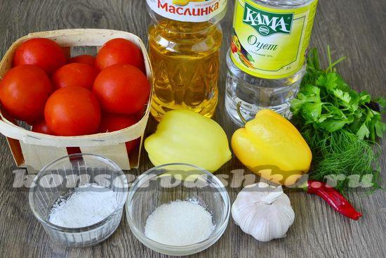 Ингредиенты для приготовления помидор по-корейски