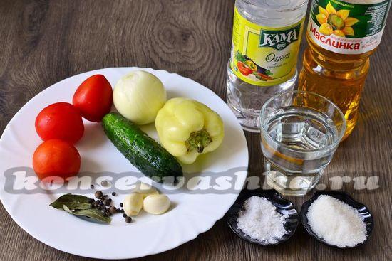 Ингредиенты для приготовления овощного салата на зиму