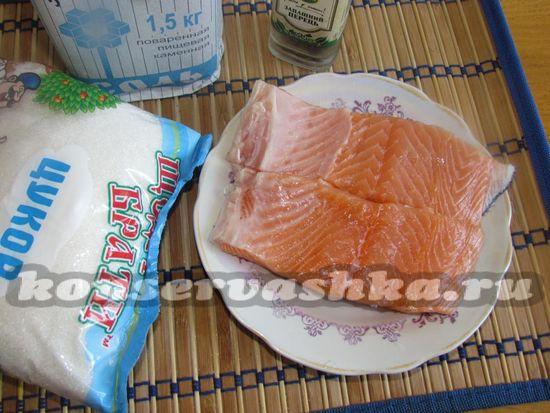 Ингредиенты для приготовления малосольного лосося