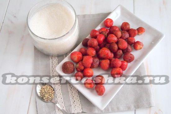 Ингредиенты для приготовления клубники в собственном соку