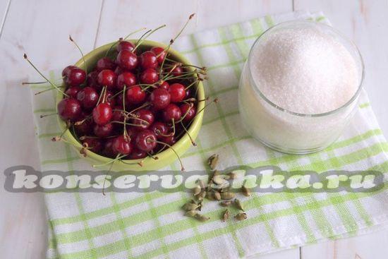 Ингредиенты для приготовления черешни в сиропе с кардамоном