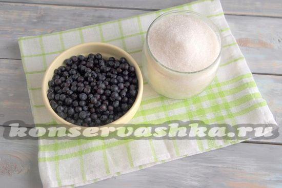 Ингредиенты для приготовления варенья из черники