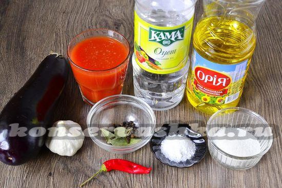 Ингредиенты для приготовления острых баклажан на зиму