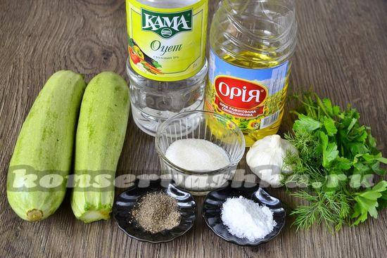 Ингредиенты для приготовления консервированных кабачков