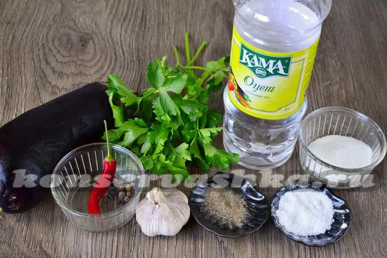 Ингредиенты для приготовления маринованных баклажан на зиму