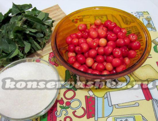 Ингредиенты для приготовления варенья из черешни с мятой