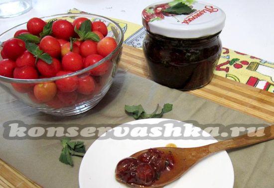 рецепт варенья из черешни с мятой
