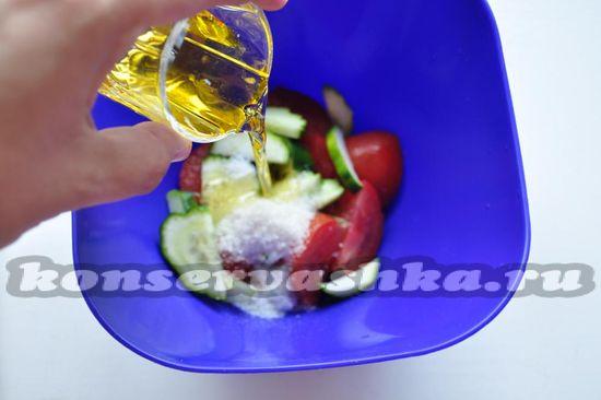 затем растительное масло и уксус