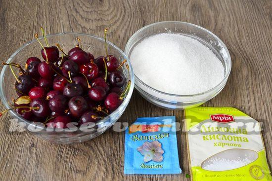 Ингредиенты для приготовления варенья из черешни с косточкой