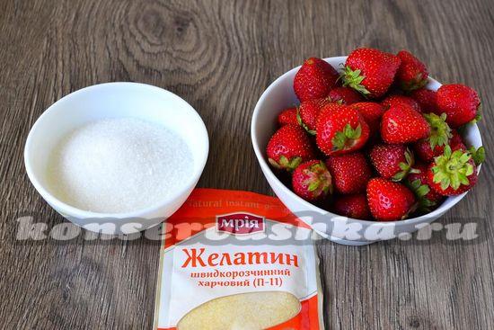 Ингредиенты для приготовления клубничного джема с желатином на зиму