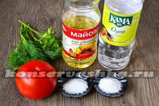 Ингредиенты для приготовления быстрых маринованных помидор