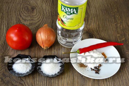 Ингредиенты для приготовления кетчупа на зиму