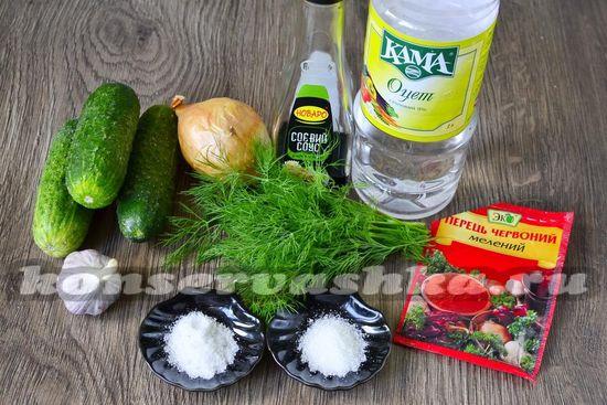 Ингредиенты для приготовления огурцов по-корейски