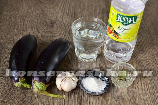Ингредиенты для приготовления баклажан с чесноком