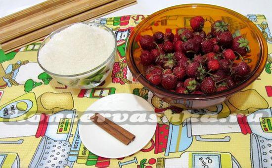 ингредиенты для приготовления варенья из клубники с корицей