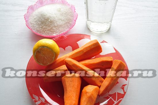Ингредиенты для приготовления повидла из моркови