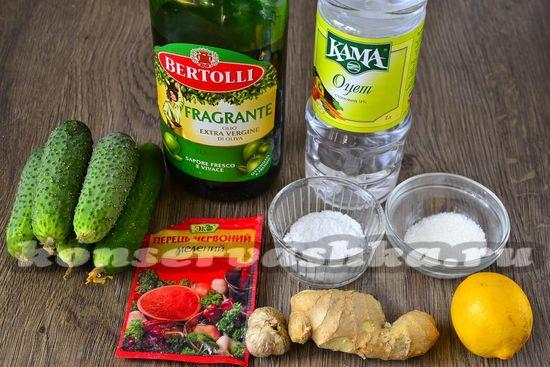 Ингредиенты для приготовления быстрых соленых огурцов
