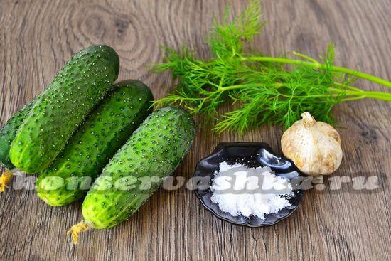 Ингредиенты для приготовления огурцов без рассола