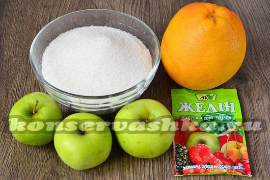 Ингредиенты для приготовления желе из яблок и грейпфрута