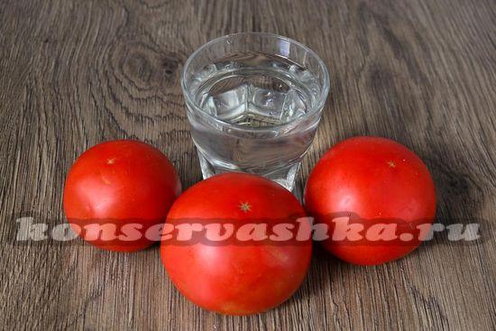 Ингредиенты для приготовления томатов без сахара и соли