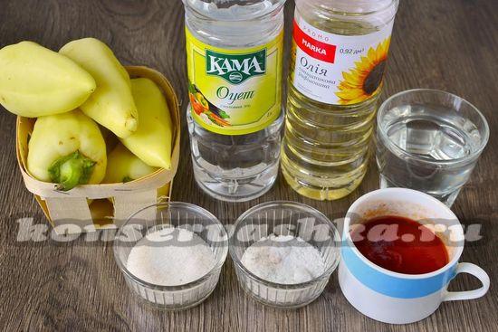 Ингредиенты для приготовления лечо